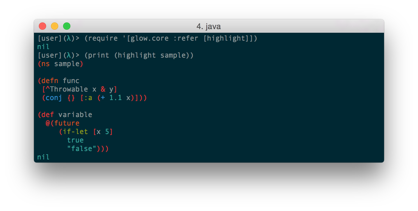 Glow: Syntax Highlighting for Clojure Source Code